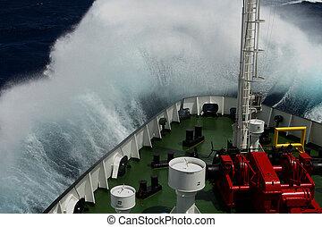 grand, sur, vague, museau, rouler, bateau