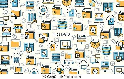 grand, technologie, bannière, données