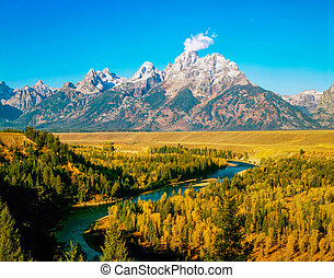 Grand Teton and Snake River in Wyoming