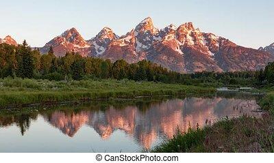 Grand Teton Mountain Sunrise Timelapse