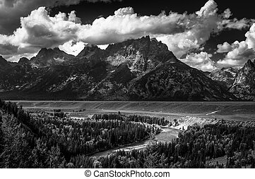 Grand Teton National Park Snake River Overlook Black and...