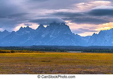 Grand Tetons Lanscape - Dramatic Sky over Grand Teton Peaks...