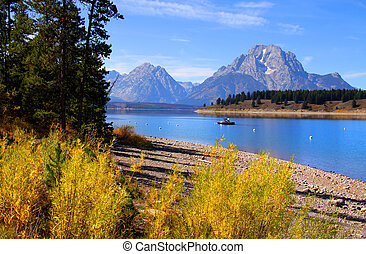 Grand Tetons national park in autumn.