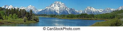 panorama of Grand Tetons National Park, Wyoming