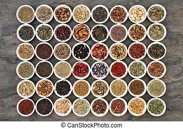 grand, thé herbe, échantillonneur