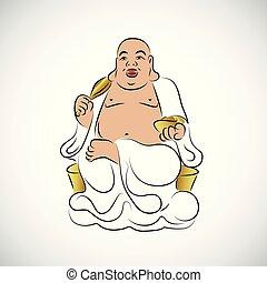 grand, thaï, bouddha, statue, doré