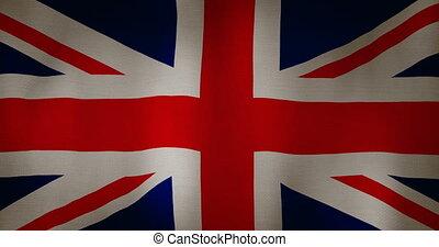 grand, tissu, grande-bretagne, texture, drapeau ondulant, ...