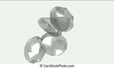 grand, tomber, &, diamants, gems.