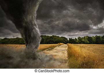 grand, tornade, désastre