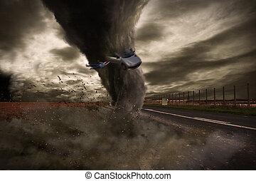 grand, tornade, désastre, sur, a, route