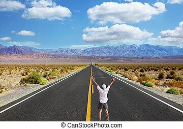 grand, touriste, enthousiaste, américain, route, midi, ...