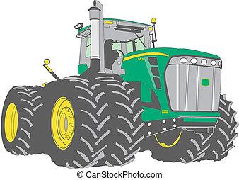 grand, tracteur ferme