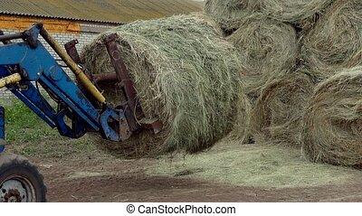 grand, tracteur, pile, met, foin