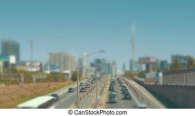 grand, trafic ville, entrer, métropolitain