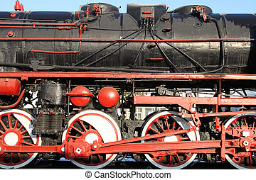 grand, train, fond, vendange, roues, vapeur