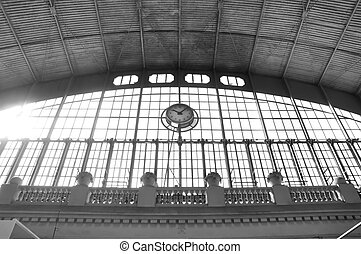 grand,  train,  station, horloge