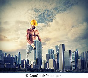 grand, travaux, construire