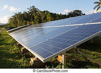 grand, tropiques, installation, énergie solaire