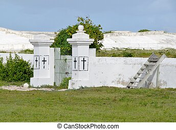 Grand Turk old public cemetery - run down entrance to a ...