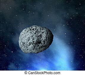 grand, univer, astéroïde