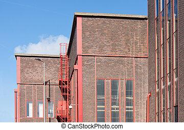 grand, usine, détails, façade, rouges, gentil