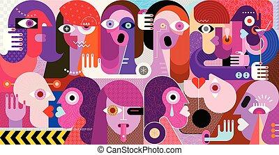grand, vecteur, groupe, illustration, gens