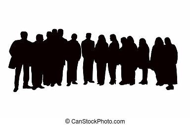 grand, vecteur, silhouette, portrait famille