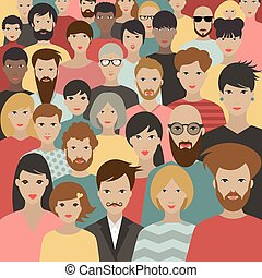 grand, vector., foule, différent, gens., groupe