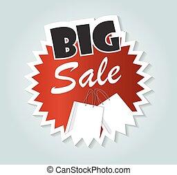 grand, vente, business., illustration, signe, vecteur, étiquette, ton