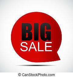 grand, vente, illustration, étiquette, bulle discours