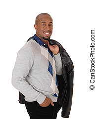 grand, veste, cuir, profil, position homme, africaine, sien