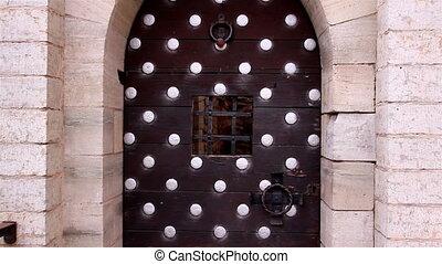 grand, vieux, porte, métal, château