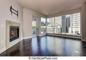 grand, vivant, fireplace., salle, vide