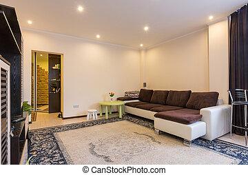 grand, vivant, intérieur, salle, sofa