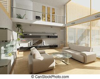 grand, vivant, windows., salle moderne