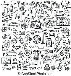 grand, voyage, ensemble, -, doodles