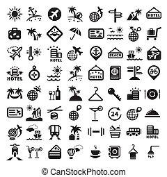 grand, voyage, ensemble, icônes