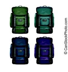 grand, voyage, ensemble, sacs dos