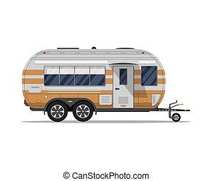 grand, voyage, moderne, isolé, caravane, icône