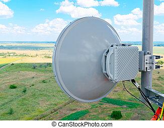 grand, vue, antennes, cellulaire, hauteur