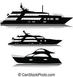 grand, yachts, vecteur, silhouettes