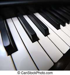 grandangolo, tastiera, pianoforte, vista., closeup.