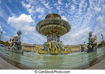 grandangolo, vista, di, fontana, a, posto, de, la, concordia, in, parigi