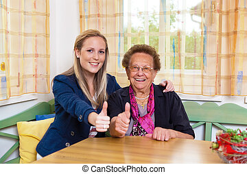 grandchild visits grandmother - a grandchild visiting his...