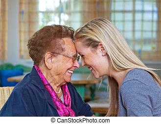 grandchild visits grandmother - a grandchild visiting his ...