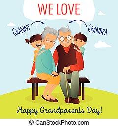 grandchildren., abuelos, concept., aduelo, ilustración, abuela, vector, family., día, feliz