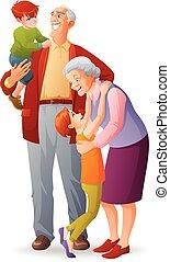 grandchildren., illustration., grootouders, vrijstaand, vrolijk, hun, vector, spotprent, vrolijke