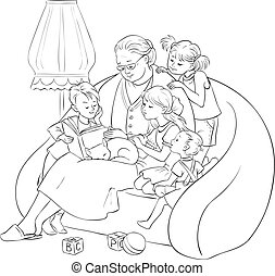 grandchildren listening their grandmother reading a book fairy tales Coloring page