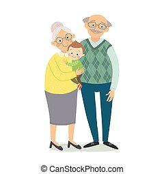grandchildren., mały, dziatw, płaski, dziadkowie, odizolowany, grandfother, eps, babcia, wektor, ilustracja, tło, grandson., pociągnięty, biały, ręka, style., rysunek, 10