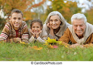 grandchildren with their grandparents